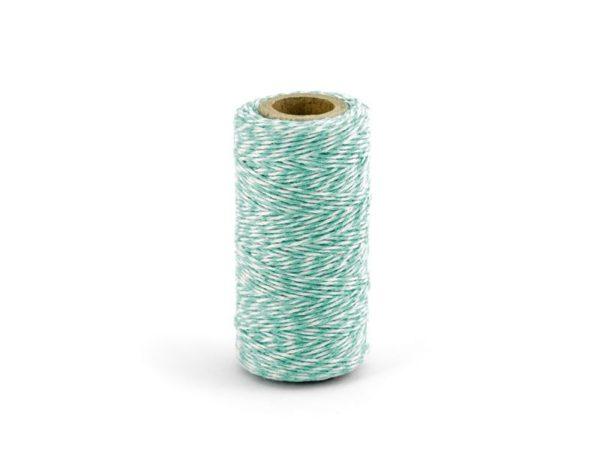 Barevný provázek z bavlny - modrá tiffany / bílá - 50 m