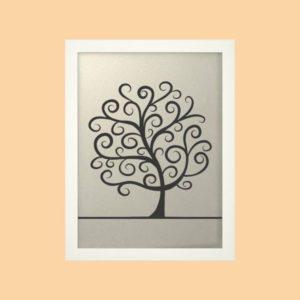 Svatební strom 2 v bílém rámu 33 x 43 cm