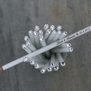 Svatební tužka s rytinou a čirým krystalem Swarovski