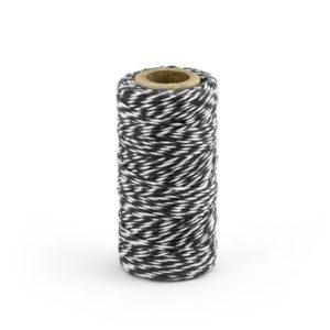 Barevný provázek z bavlny - černý / bílý - 50 m