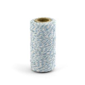 Barevný provázek z bavlny - nebeská modř / bílý - 50 m
