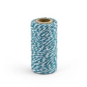 Barevný provázek z bavlny - modrý / bílý - 50 m