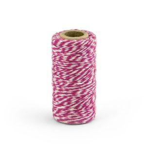 Barevný provázek z bavlny - tmavě růžový / bílý - 50 m