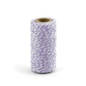 Barevný provázek z bavlny - fialový / bílý - 50 m